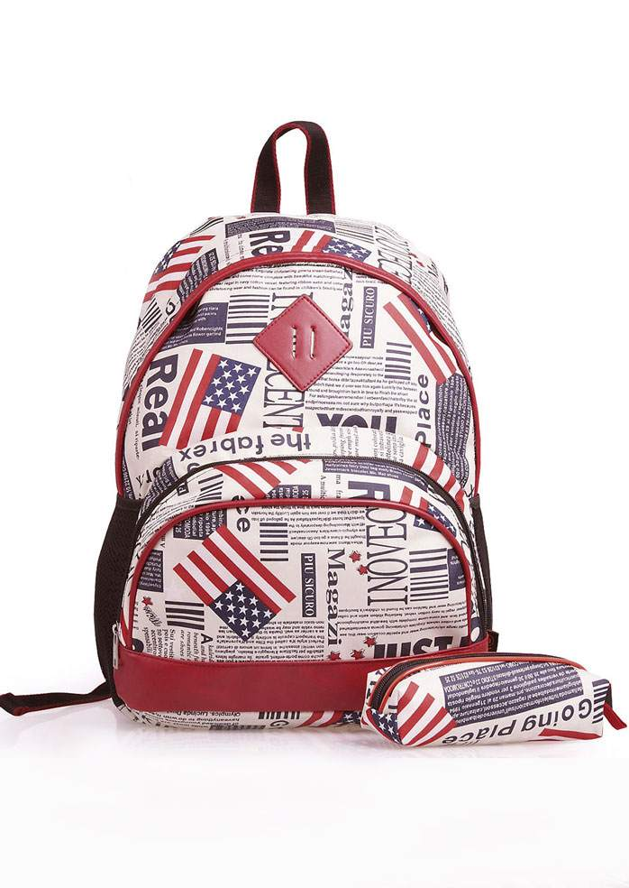 American Flag Backpack and Pencil Case Set