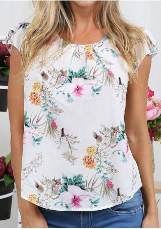 Floral Chiffon Bowknot Short Sleeve Blouse