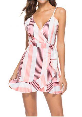 Striped Flouncing Wrap Mini Dress