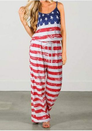 American Flag Spaghetti Strap Jumpsuit