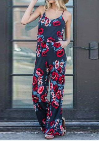 Floral Pocket Spaghetti Strap Jumpsuit