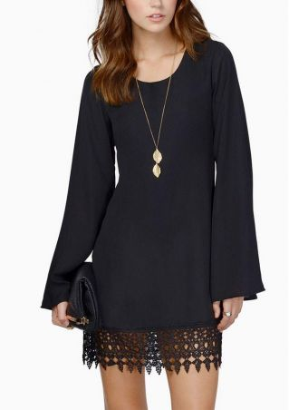 Chiffon Long Sleeve Lace Mini Dress