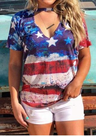 American Flag Cut Out Blouse without Necklace