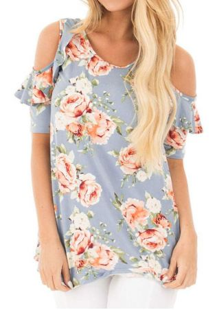 Floral Flouncing Cold Shoulder Blouse