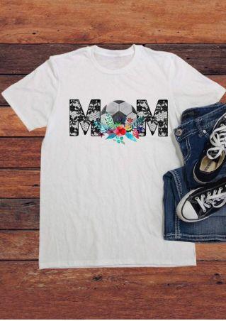 Floral Football Mom Short SLeeve T-Shirt