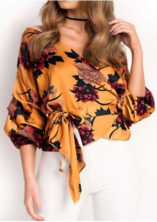 Floral Wrap Multi-Way Blouse with Belt without Necklace