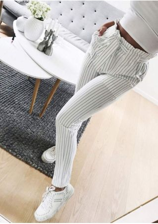 Striped Frill Pocket Pants with Belt