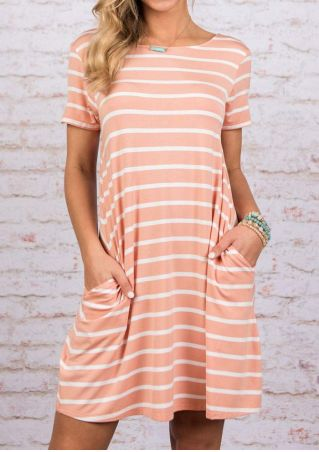Striped Pocket Mini Dress without Necklace