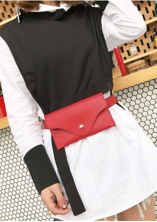 Solid PU Adjustable Strap Fanny Pack