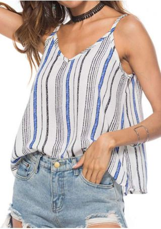 Striped V-Neck Camisole without Necklace