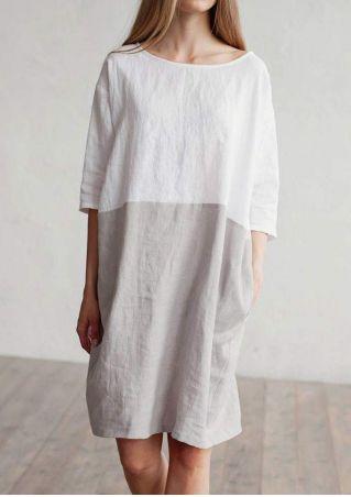 Color Block Pocket Casual Dress