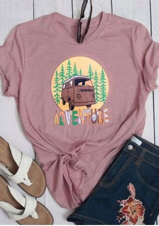 Adventure Car Tree Short Sleeve T-Shirt