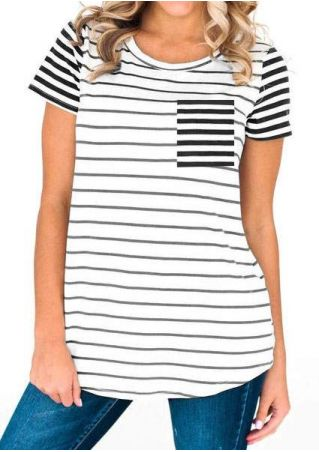 Striped Pocket Short Sleeve T-Shirt