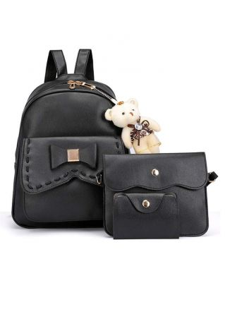 3Pcs Solid Bowknot Backpack Set with Plush Bear Pendant