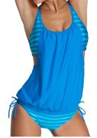 Printed Wide Strap Ruched Tankini Set