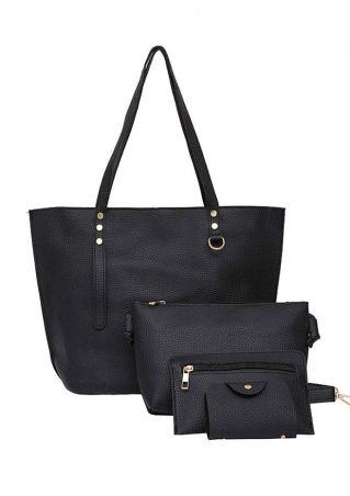 4Pcs Solid PU Shoulder Bag Set