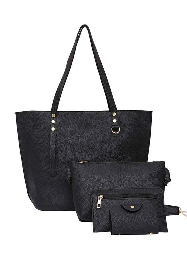 4Pcs Solid PU Shoulder Bag Set