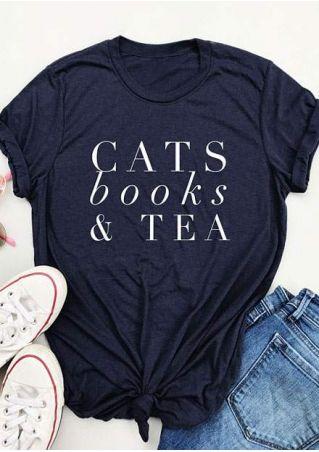 Cats Books & Tea Short Sleeve T-Shirt