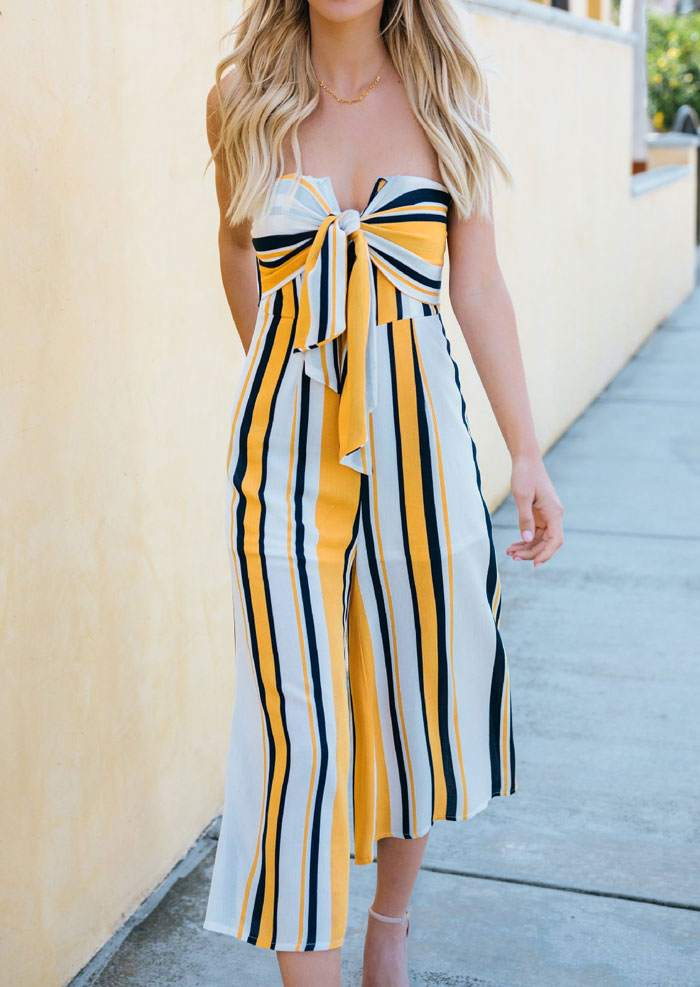 9c8632bd76be Striped Tie Strapless Jumpsuit without Necklace - Bellelily