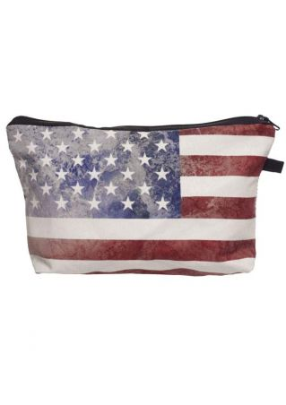 American Flag Zipper Cosmetic Bag