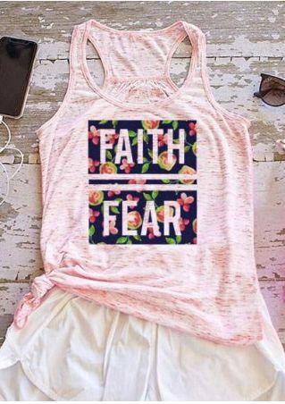 Floral Faith Fear Racerback Tank