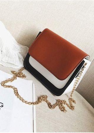 Color Block Flap Chain Crossbody Bag