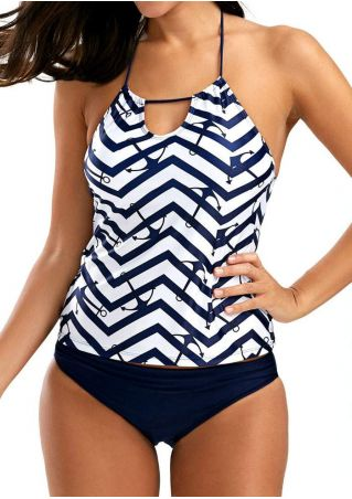 Anchor Zigzag Hollow Out Halter Tankini