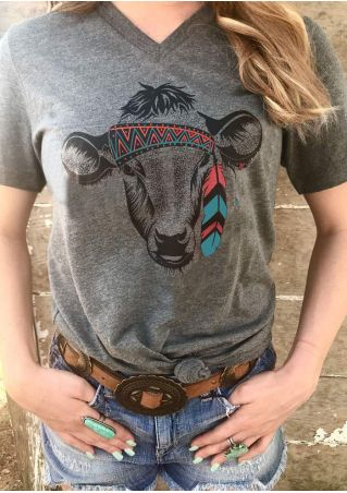Tribal Cow Head V-Neck T-Shirt