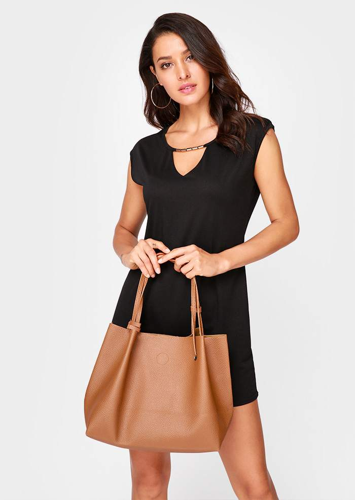Solid Shoulder Bag and Crossbody Bag Set