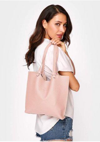 Solid PU Shoulder Bag and Purse Set