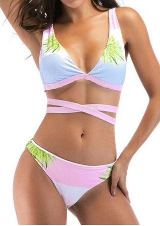 Leaf Splicing Cross Bikini Set