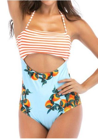 Striped Orange Hollow Out Swimsuit
