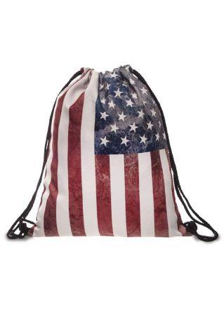American Flag Drawstring Backpack