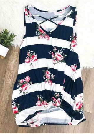 Floral Striped Criss-Cross V-Neck Tank