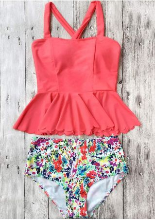 Floral Scalloped Hem Cross Tankini