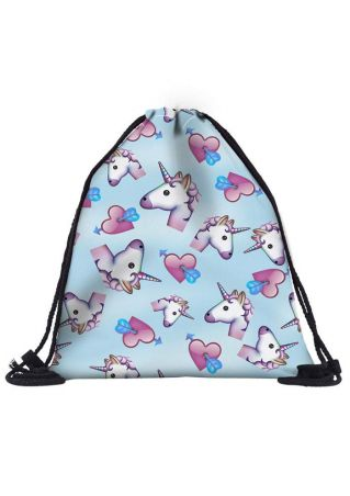 Unicorn Heart Arrow Drawstring Backpack