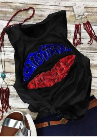 American Flag Lips O-Neck Tank