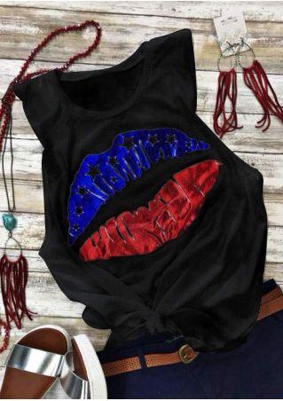 American Flag Lips O-Neck Tank