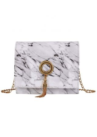 Marble Stone Printed Chain Crossbody Bag