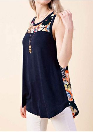Floral Splicing O-Neck Tank without Necklace