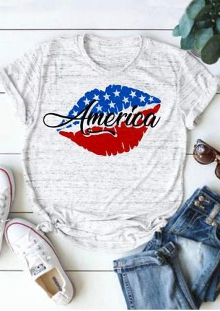 American Flag Lips Short Sleeve T-Shirt