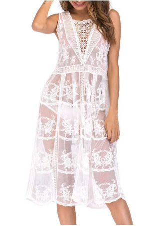 Solid Lace Floral See-Trough Cover Up