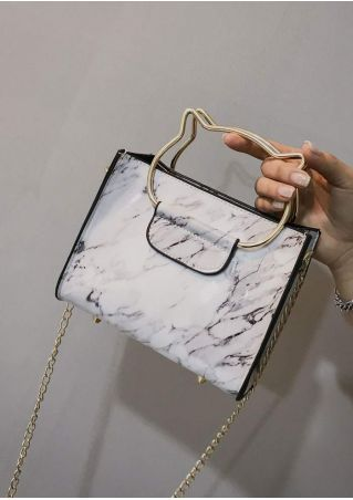 Marble Printed Crossbody Bag with Cat Head Shaped Handles