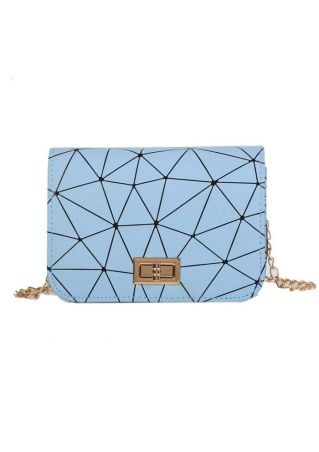 Geometric PU Chain Crossbody Bag