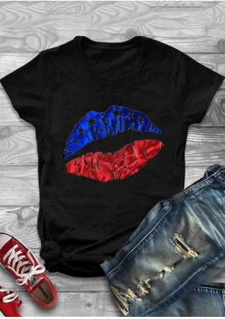 American Flag Lips O-Neck T-Shirt