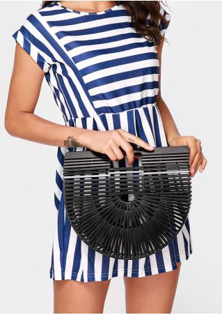 Large Solid Hollow Out Semicircle Bamboo Handbag