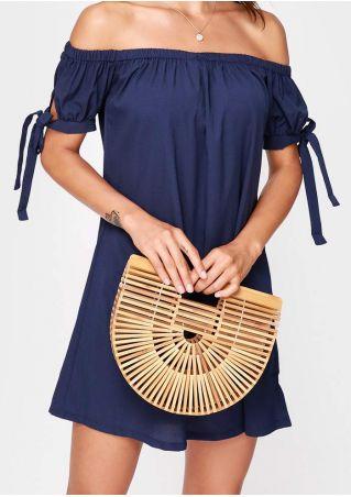 Small Solid Hollow Out Semicircle Bamboo Handbag