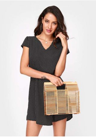 Large Solid Hollow Out Square Bamboo Handbag