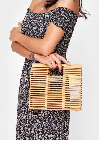 Small Solid Hollow Out Square Bamboo Handbag