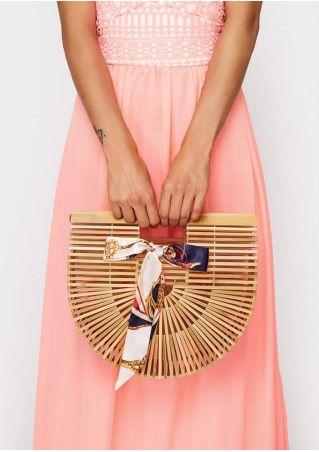 Large Solid Hollow Out Semicircle Bamboo Handbag